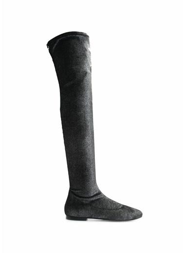 Giuseppe Zanotti Diz Üstü Deri Kadife Çizme Füme